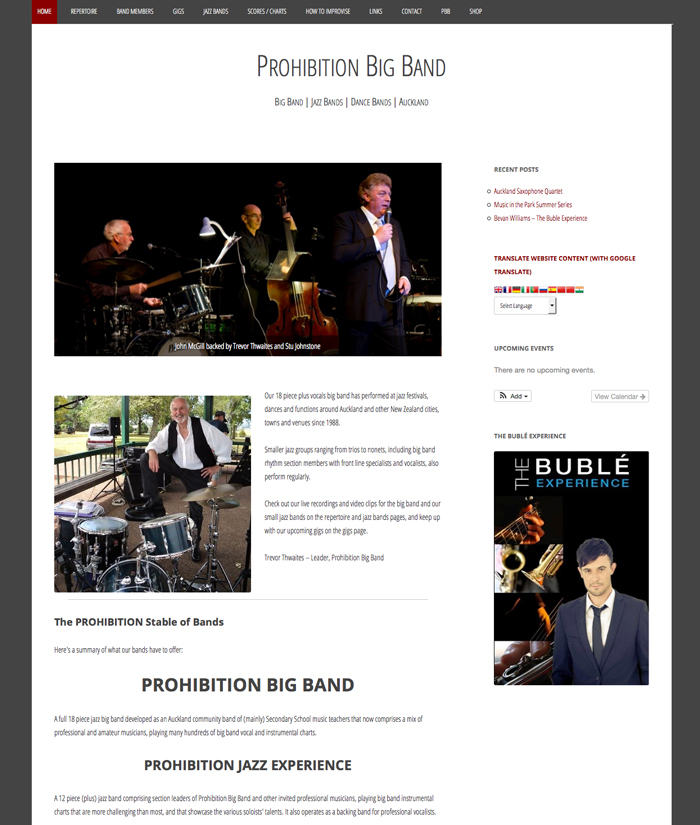 Prohibition Big Band website