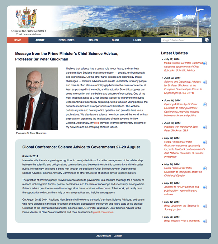 Office of the Prime Minister's Chief Science Advisor website